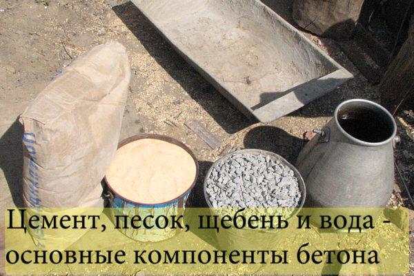 Пропорции материалов для бетонной смеси