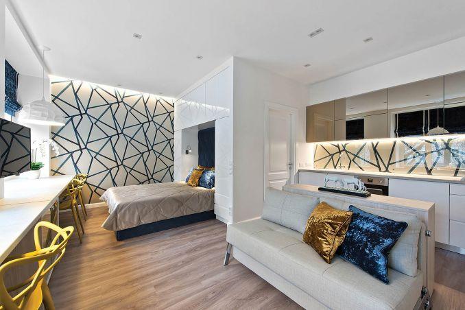 Однокомнатная квартира 30 кв.м, как изыскано уместить всё в одной комнате