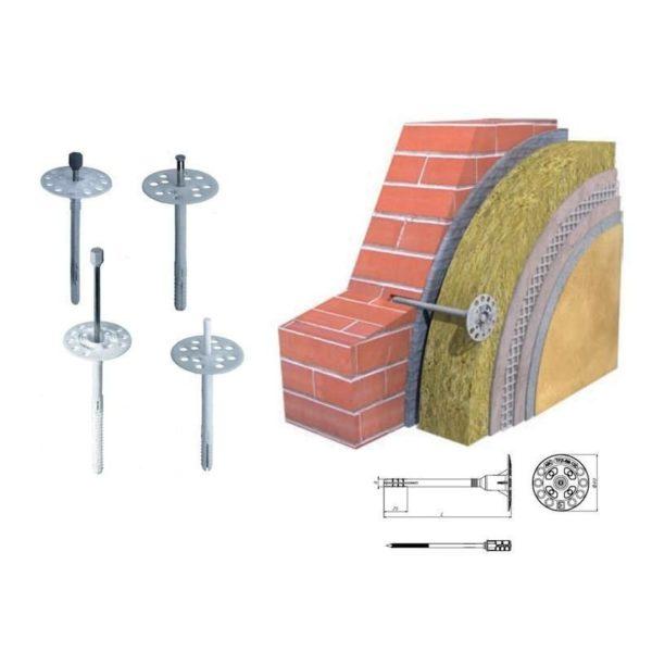 Монтаж утеплителя к стенам дома с помощью дюбеля для крепления теплоизоляции
